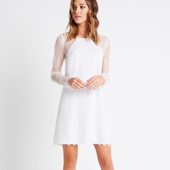 Nwt Bcbg White Long Sleeve Lace Dress Nwt